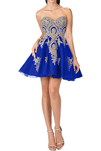 Charmant Damen Rosa Spitze Applikation Kurzes Abendkleider Ballkleider Partykleider Cocktailkleider Mini Royal Blau