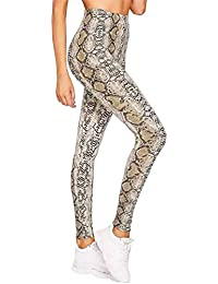 Islander Fashions Ladies Snake Print Cintura Alta Legging Womens Stretchy Full Length Gym Pants Small/XX Large