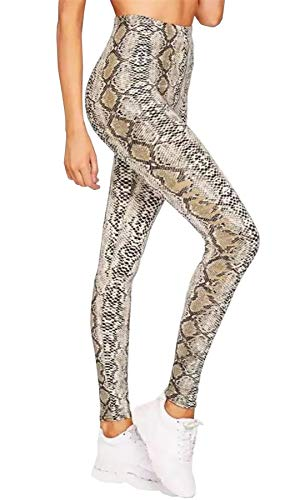 Islander Fashions Inselbewohner-Mode-Damen-Schlangen-Druck-hohe Taille Legging-Frauen Stretchy in voller L�nge Gym Pants Small/Medium