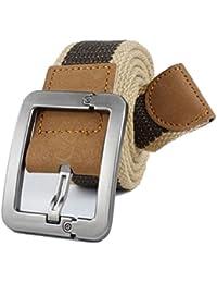 SAMGU Ceintures Fashion Casual toile boucle cuir véritable mode ceinture de toile pour les hommes