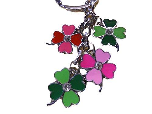 Schlüsselbund - Mehrfarbiger 4 Blättriges Kleeblatt Email Schlüsselanhänger -