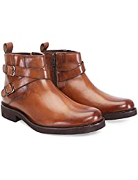 BRUNE Tan Color 100% Genuine Leather Ankle Boots For Men/Designer Boots For Men/Branded Biker Boots For Men/Best...