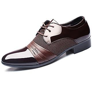 BAINASIQI Herrenschuhe Herren Schnürhalbschuhe Elegant Businessschuhe Lederschuhe Hochzeit Schuhe (EU 41, Braun)
