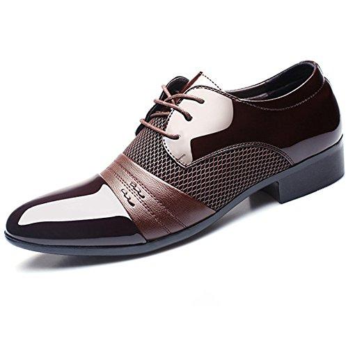 BAINASIQI Herrenschuhe Herren Schnürhalbschuhe Elegant Businessschuhe Lederschuhe Hochzeit Schuhe (EU 45, Braun)