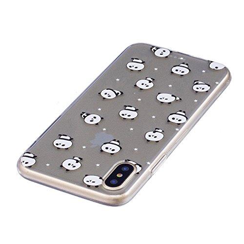 Schutzhülle Flexible TPU für iPhone 8,Herzzer Handytasche klare Weich Silikon Gel Case Ultra Leichte Flexibel Cover Schlanke Schale Kratzfeste Anti-Fingerprint Sehr Dünn Backcover für iPhone 8 + 1 x F Einzigartig Panda