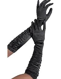 Gants longs en satin Noir plissés