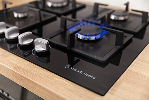 Russell Hobbs Glass hob with 4 Gas Burners, Manual Dial Control, Cast Iron Pan Support, RH60GH402B – Free 2 Year Warranty*