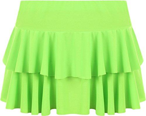 WearAll - Damen Rara Mini Rock Kurz Skirt - Fluoreszierend Grün - 36-38