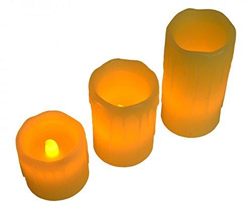 3 unidades SET de velas de cera con LED, vela de cera sin llama, luz parpadeante, velón, funciona con pilas, luz de jardín, decoración