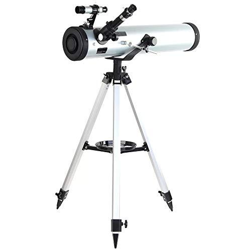 Telescopio Premium Rendimiento 700-76 telescopio astronómico Reflector con azimutal Montaje Ajustable Trípode de Aluminio (Color : As Shown, Size : 700mm)