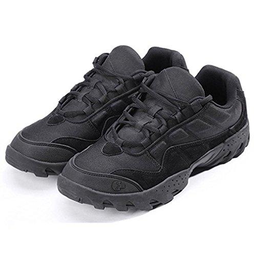 emansmoer Herren Wasserdicht Atmungsaktiv Outdoor Sport Wandern Trekking Schuhe Low-top Lace-up Non-slip Komfort Sneakers Schwarz