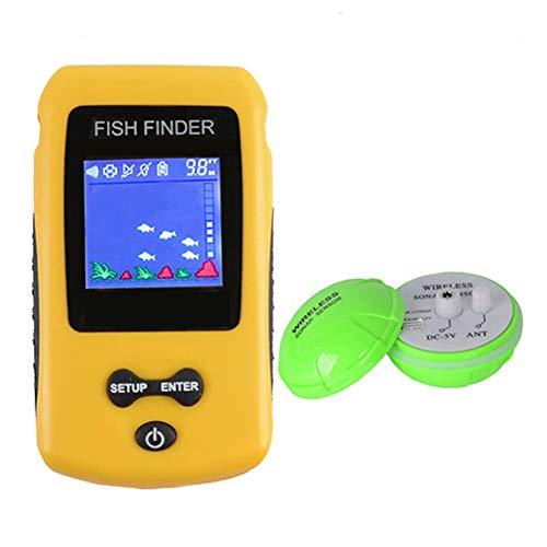 TAKEMORE7 kabelloser Sonar-Fischfinder, tragbar, wiederaufladbar, intelligenter Fischfinder mit LCD-Display, Tiefen-Sonar-Sound, Fisch-Identifikator für Outdoor-Angeln -