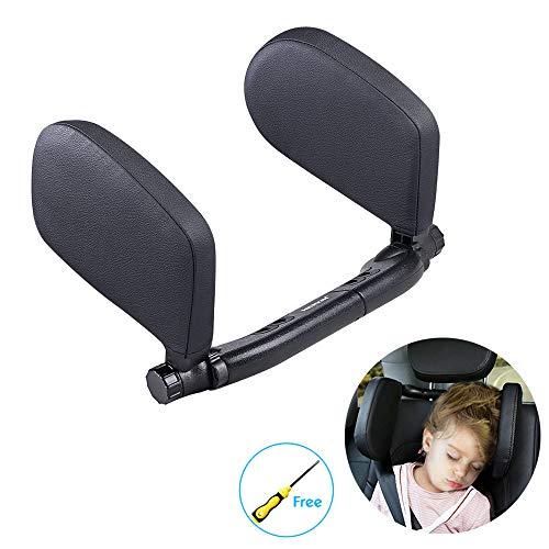 Auto Hals Kissen Nackenstütze, LATIT Autositz Kopfstütze mit Einziehbar Unterstützung auf Beiden Seiten Drehbar, Leder und Memory Schaum, NackenKissen Kinder (Schwarz)