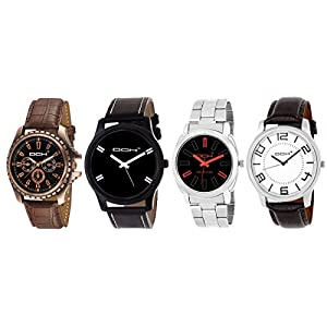 DCH Exclusive Analogue 4 Watch Combo With Multi Colour Dial For Men/Boys