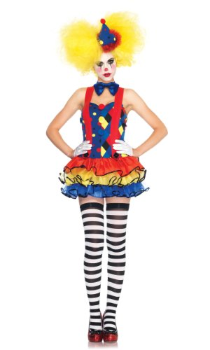 Leg Avenue 83984 - Giggles - The Clown Kostüm, Größe M, blau/rot