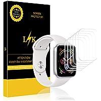 LK [6 Pack Pellicola per Apple Watch 44mm Series 4, Wet Applied Pellicola Protettiva in TPU [Bubble-Free-Riutilizzabile] HD Clear Film Screen Protector con Garanzia di Sostituzione a Vita