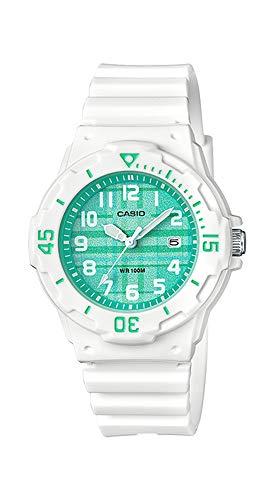 men's White Resin Band Plaid Green Dial Day Date Watch ()