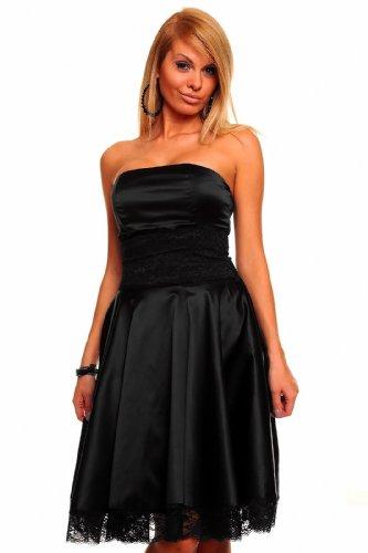 Knielanges Bandeau Kleid Satinkleid Ballkleid Abendkleid Cocktailkleid Festkleid Schwarz L (38)