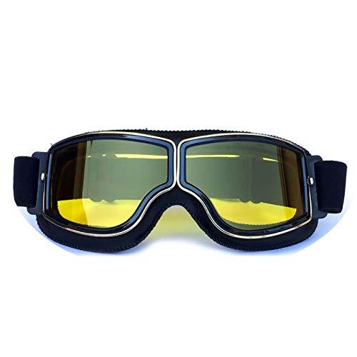 Adisaer Damen Sonnenbrille Retro Helm Schutzbrillen Lokomotive Offroad Motorrad Schutzbrillen Retro Schutzbrillen Gläser Reiten Black Yellow Damen Herren