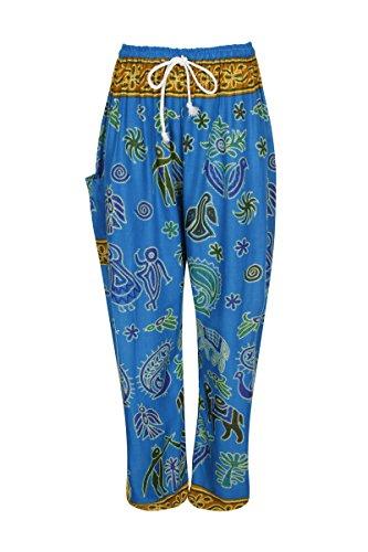 Haremshose - Aladdin Hippie Hose mit Taillenschnürung Hieroglyphic Light Blue