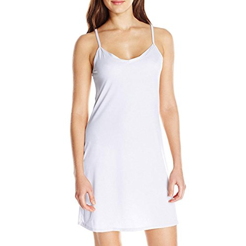 DOLDOA Damen Unterkleid, Sling Knielanges Klassische Neglige Unterrock (EU:46, Weiß,Sling Knielanges Unterkleid)