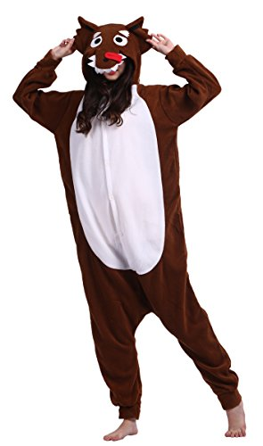 CuteOn Unisex Erwachsene Cartoon Tier Kigurumi Pyjamas Nachtwäsche Mit Kapuze Cosplay Kostüm Braun Wolf M for Höhe 156-167CM (Herren Wolf Strampelanzug)