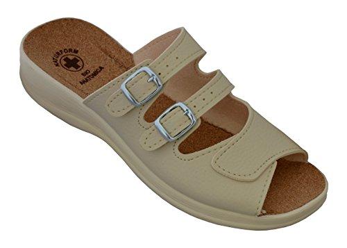 Damen Pantolette Arbeitsschuhe Medizinische Schuhe Sandalen Komfort Kork Hausschuhe Arbeit Leicht und Bequem (38, Beige 2) (Kork-futter)