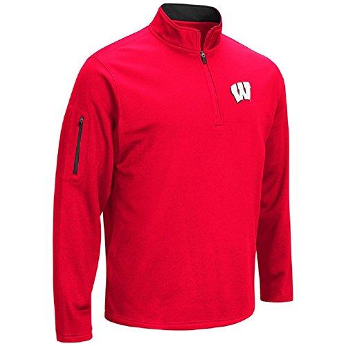 Colosseum NCAA Men 's VF Poly Fleece 1/4Zip Pullover, Herren, Wisconsin Badgers-Red