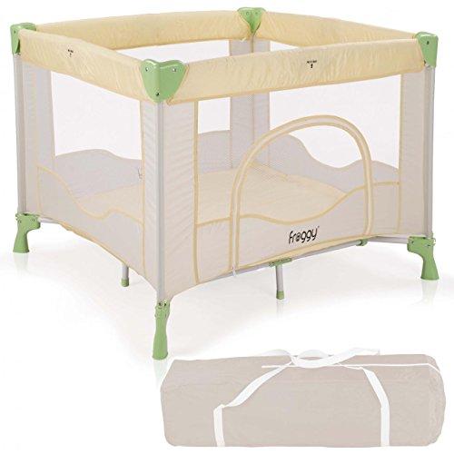 Froggy® Reisebett SAFARI Babybett Laufstall mit Schlafunterlage, Matratze, praktische Transporttasche, kompakt 94 x 94 x 76 cm