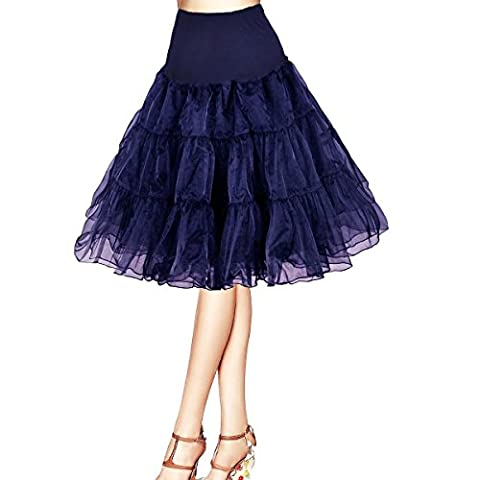 Honeystore Damen's 50s Rock'n'Roll Ballet Petticoat Abschlussball Party Halloween Kostüme Tutu Rock Marine (Einfache Selbst Gemachte Kostüme Für Halloween)