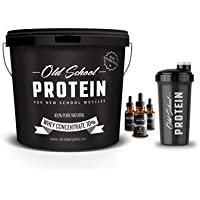 Whey Protein 7 kg, Unflavoured, Old School Protein® - 100% Natural Whey Protein Powder Without Additives + Flave Drop + Shaker, 8 Delicious Flavours (Peach)
