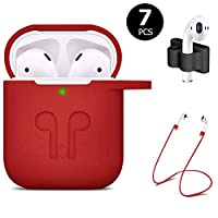 ICETEK AirPods Case Cover, Silicone AirPods Case Protective 7 In 1 AirPods Accessories Set with Clip Holder/Keychain/Strap/Ear hooks/Soft Storage Bag for Apple Airpod (1-Red)