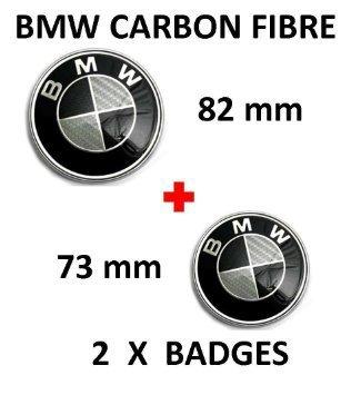 BMW-Emblem für Motorhaube und Kofferraum, 1, 3, 5, 6, 7, Serie X3 / X5, Kohlefaser, 82 mm / 73 mm