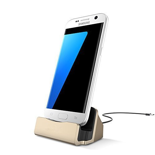 Charger Dock Cradle Desktop Stand with Micro USB Cable Connector for Charge and Sync Data of Samsung Galaxy S7/S7 Edge, S6/S6 Edge, S5, Note 5/4, HTC One or Android Micro USB (Charger Base Desktop Phone)