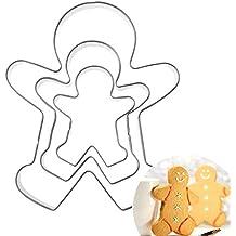 ecmqs molde para galletas – 3 piezas muñeco de jengibre (niño Niña Fondant, repostería