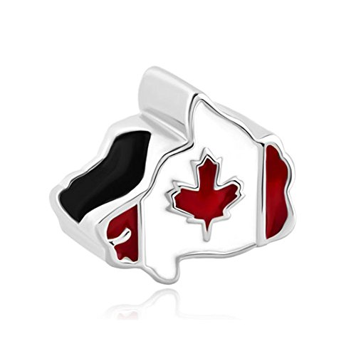 Korliya - pendente per braccialetti a forma di stati uniti con bandiera statunitense e base metal, cod. emw_dpc_my552