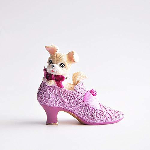 Tierstatuen Gartenfiguren Palast Hund Prinz Prinzessin Exquisite High Heels Sammlung Dekoration Mädchen Geschenk Lila ()