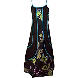 Largo Vestido De Verano hippie Chic Negro/larga vestidos negro 42