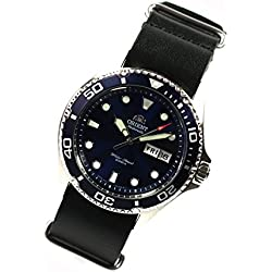 Orient Ray II Deep Blue Diver Men's Watch Automatic Diving Watch Nato Leather Watch Strap