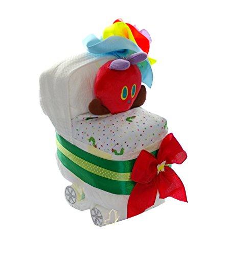 Pampers Windelwagen neutral Windeltorte RAUPE NIMMERSATT - dubistda© Geschenke zur Geburt handmade