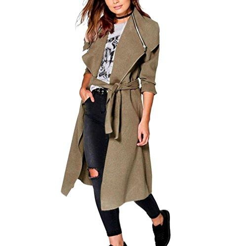 Koly _donne invernali di trincea oversize Outerwear caldo (M, kaki)