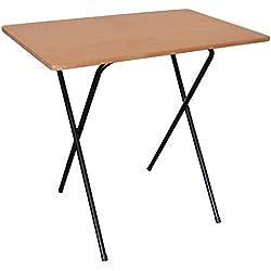 Table pliable pour ordinateur portable - en bois - structure noire/dessus imitation bois