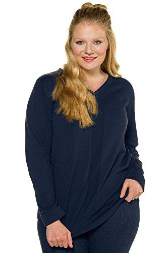 Ulla Popken Damen große Größen bis 62+ | Pullover, Linksstrick-Optik | V-Ausschnitt, Lange Ärmel | Regular Fit | marine 46/48 707483 70-46+