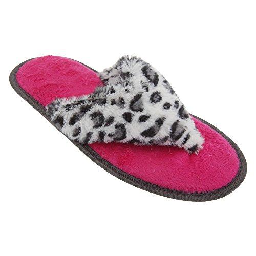 Damen Fleece Zehentrenner / Flip Flop Hausschuhe mit Tiermuster Leopard Beige