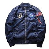 Herren NASA Motiv Stickerei Flug Bomberjacke Langarm Stepp Einfacher Stil Mantel Stehkragen Oberbekleidung Pilotenjacke (Color : Navy Blau, Size : 2XL)