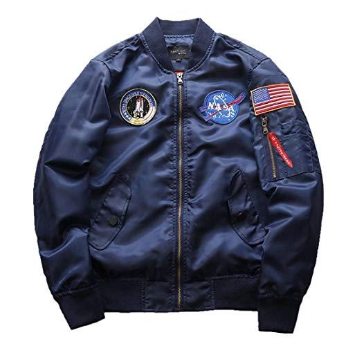 Herren NASA Motiv Stickerei Flug Mantel Stepp Langarm Bomberjacke Stehkragen Oberbekleidung Pilotenjacke Jungen (Color : Navy Blau, Size :...