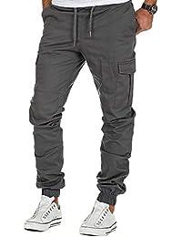 c76aaf3267 BMEIG Hombres Chino Cargo Pantalón Slim Fit Algodón Pantalones de chándal  Salvajes Bolsillos múltiples Casual Parte