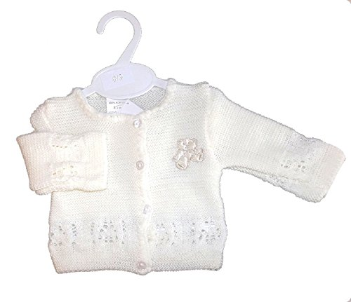 2c0db5377 Bee Bo white or cream unisex baby knitted cardigan 100% Acrylic with  gorgeous satin teddy