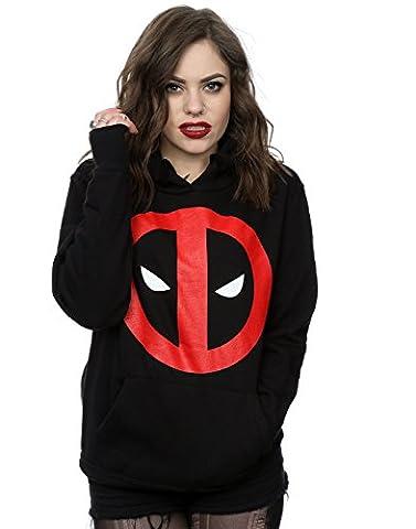 Marvel Women's Deadpool Clean Logo Hoodie Large Black