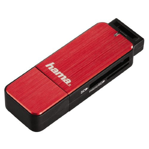Hama Kartenleser mit Aluminiumgehäuse (SD, SDHC, SDXC, microSD/microSDHC/microSDXC, USB 3.0), rot
